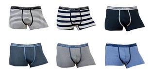 Un collage de la ropa interior de seis varones Fotografía de archivo libre de regalías