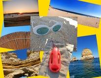 Un collage de las fotos hermosas del verano adentro alrededor de Lagos, Portugal Concepto del viaje del verano imagen de archivo libre de regalías