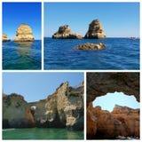 Un collage de las fotos hermosas del verano adentro alrededor de Lagos, Portugal Concepto del viaje del verano fotos de archivo