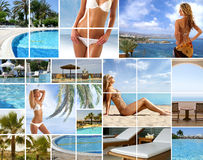 Un collage de las imágenes del centro turístico con las mujeres jovenes Fotografía de archivo