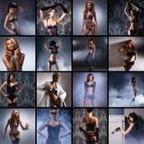 Un collage de las mujeres jovenes que presentan en ropa interior erótica Imagen de archivo libre de regalías