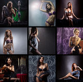 Un collage de las mujeres jovenes que presentan en ropa interior erótica Foto de archivo libre de regalías