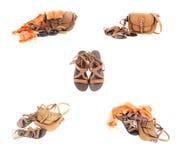 Un collage de los accesorios del verano Imagen de archivo libre de regalías