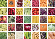 Un collage de los ingredientes comestibles vegetales Imagenes de archivo