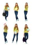 Un collage de muchachas en ropa casual en un fondo blanco Imágenes de archivo libres de regalías