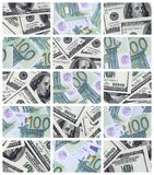 Un collage de muchas imágenes de billetes de banco euro en denominaciones de 1 stock de ilustración