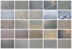 Un collage de muchas imágenes con los fragmentos de pavimentar las tejas cercanas imagenes de archivo