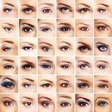 Un collage de muchos diversos ojos de la hembra Imagen de archivo libre de regalías