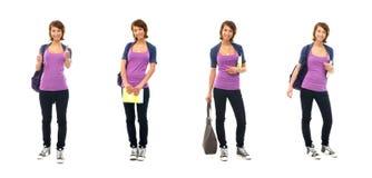 Un collage de mujeres adolescentes jovenes en ropa casual Imagenes de archivo