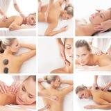 Un collage de mujeres jovenes en un masaje del balneario Foto de archivo libre de regalías