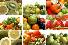 Un collage de neuf images de thème de nutrition Photo stock