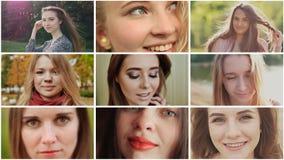 Un collage de neuf jeunes belles filles d'aspect slave russe banque de vidéos