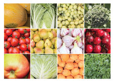 Un collage degli ingredienti commestibili di verdure Immagine Stock Libera da Diritti