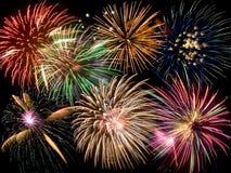 Un collage dei fuochi d'artificio Fotografie Stock