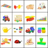 Un collage dei giocattoli dei bambini Fotografia Stock Libera da Diritti
