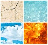 Un collage dei quattro elementi della natura immagini stock libere da diritti
