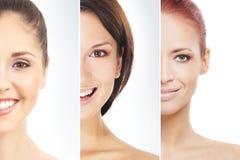 Un collage dei ritratti femminili nel trucco Fotografie Stock
