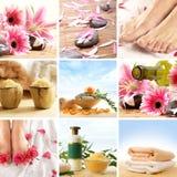Un collage del balneario de pies, de flores y de piedras femeninos Imagen de archivo libre de regalías