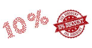 Un collage del cuore di amore di 10 per cento dell'icona e timbro di gomma royalty illustrazione gratis