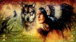 un collage del dólar con el guerrero indio del hombre con el lobo, fondo del ornamento Imágenes de archivo libres de regalías