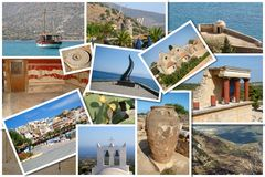 Un collage dell'isola di Creta, Grecia Fotografia Stock