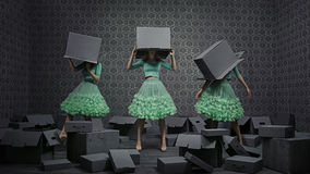 Un collage della foto di arti di tre donne alla moda immagine stock