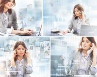 Un collage delle donne di affari che lavorano nell'ufficio Immagini Stock