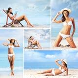 Un collage delle giovani donne che si rilassano sulla spiaggia Immagine Stock Libera da Diritti