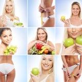 Un collage delle giovani donne e del nutriotion Fotografia Stock