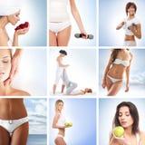 Un collage delle giovani donne sulle procedure della stazione termale fotografie stock
