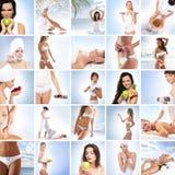 Un collage delle immagini con le giovani donne in stazione termale Fotografia Stock Libera da Diritti