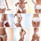 Un collage delle immagini con le parti del corpo della femmina di misura Immagini Stock Libere da Diritti