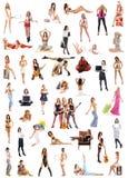 Un collage delle immagini con le ragazze nelle pose differenti Fotografie Stock