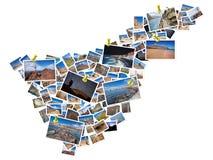 Un collage delle mie migliori foto di viaggio di Tenerife, formanti la forma dell'isola di Tenerife Immagine Stock