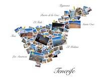 Un collage delle mie migliori foto di viaggio di Tenerife, formanti la forma dell'isola di Tenerife Immagini Stock
