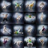 Un collage des hommes de danse dans des vêtements sportifs Images libres de droits