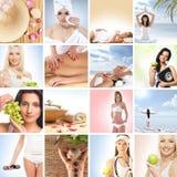 Un collage des jeunes femmes sur des procédures de station thermale Photos stock
