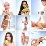 Un collage des jeunes femmes sur des procédures de station thermale Image libre de droits