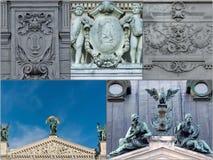 Un collage des photos sur le théâtre de Lviv de l'opéra Images libres de droits