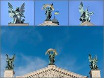 Un collage des photos sur le théâtre de Lviv de l'opéra Photographie stock