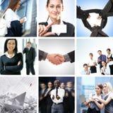 Un collage di affari con i giovani che agitano le mani Immagini Stock Libere da Diritti