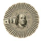 Un collage di cento primi piani delle banconote in dollari per fondo Fotografia Stock