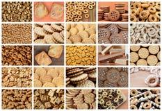 Un collage di molte immagini con il vario primo piano dei dolci Un insieme dei biscotti, dei bagel e delle caramelle fotografia stock libera da diritti