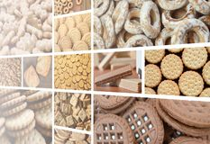Un collage di molte immagini con il vario primo piano dei dolci Un insieme dei biscotti, dei bagel e delle caramelle immagine stock