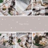 Un collage di nove foto con gli oggetti di Natale Immagine Stock Libera da Diritti