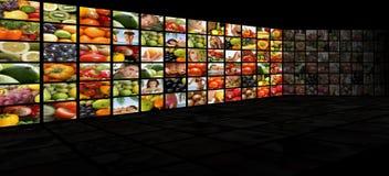 Un collage di nutrizione con molta frutta saporita Fotografia Stock Libera da Diritti