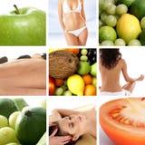 Un collage di nutrizione con molta frutta saporita Fotografie Stock Libere da Diritti