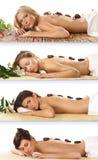 Un collage di quattro donne che ottengono trattamento della stazione termale Fotografie Stock