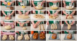 Un collage gradual de hacer el pan dulce trenzado Imagen de archivo