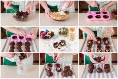 Un collage graduale di produrre l'uovo di Pasqua con la sorpresa Fotografie Stock